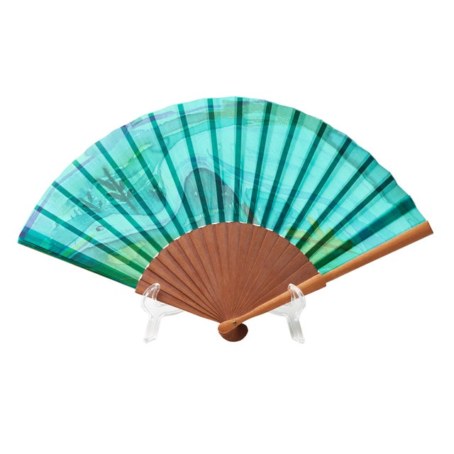 Spanish Malachite Motif Paper Fan - Image 1 of 2
