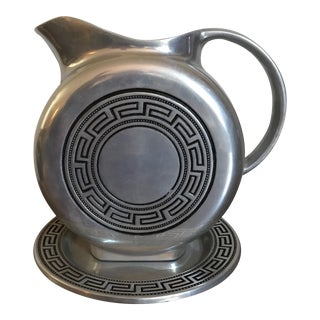 Vintage Greek Pattern Pewter Pitcher & Plate