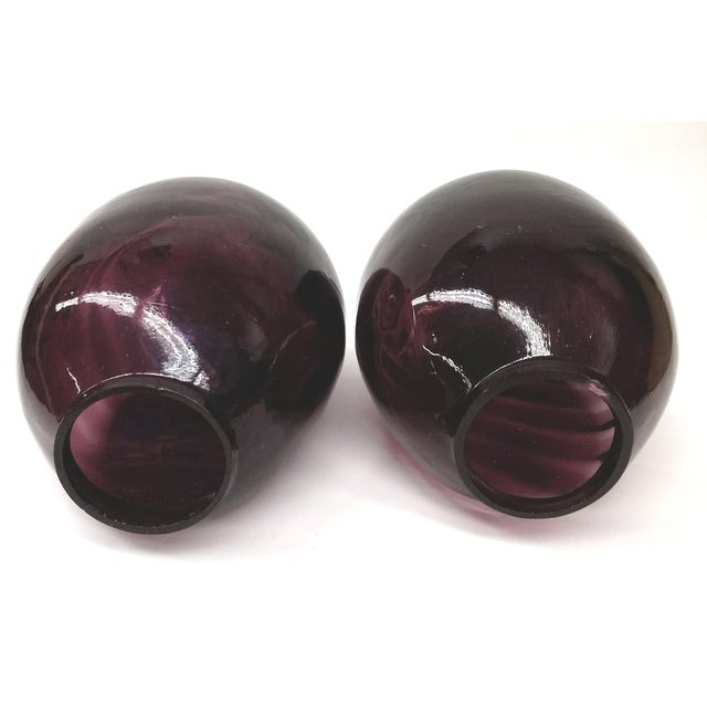 Twin Vintage Amethyst Glass Vases Heather Plum - 2 - Image 8 of 10