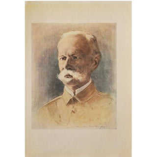 """M. Menpes """"Portrait of Lord Roberts"""" Lithograph"""