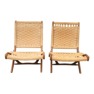 Vintage Danish Modern Rope Folding Chairs - A Pair