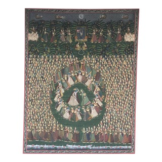 Large Silk Picchavai Depicting Krishna & Gopis Circle Dance India, 18th Century