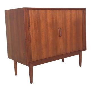Danish Modern Bar Cabinet with Tambour Doors