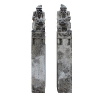 Chinese Fengshui Stone Old Man & Foo Dog Figures- A Pair