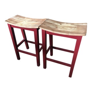 Asian Style Wooden Stools - A Pair