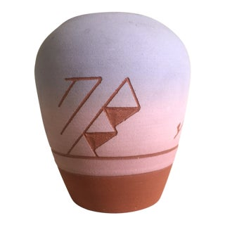 Vintage Native American Sioux Havel Marie Signed Pink Purple Ombre Terra Cotta Vase