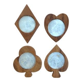 Mid-Century Wood Card Suit Coasters