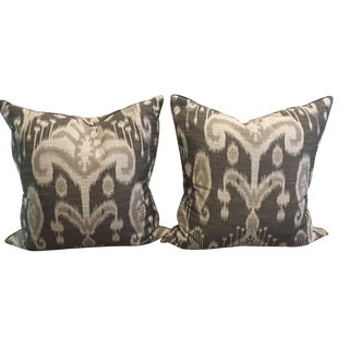 Crate & Barrel Gray Linen Ikat Pillows - A Pair