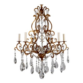 Italian Scrolled Gilt and Crystal Six Arm Chandelier