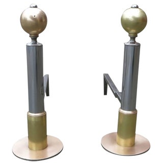 American Art Deco Chrome & Brass Geometric Andirons - a Pair