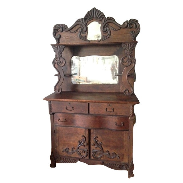 Antique Wooden Sideboards ~ Antique wood double mirror sideboard buffet chairish