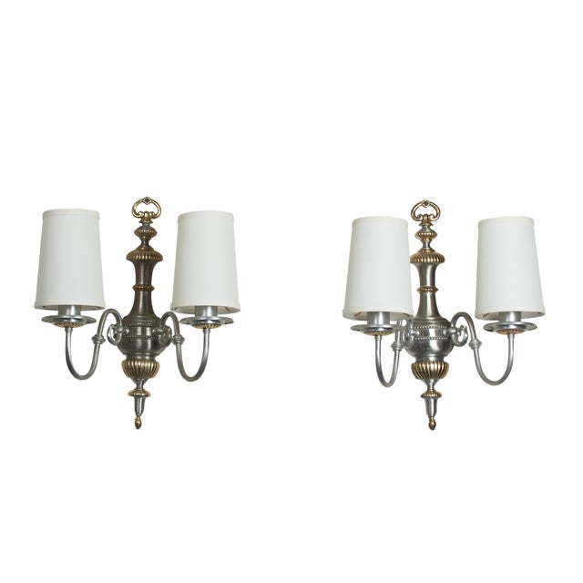 Image of Brushed Steel Two-Arm Sconces- A Pair