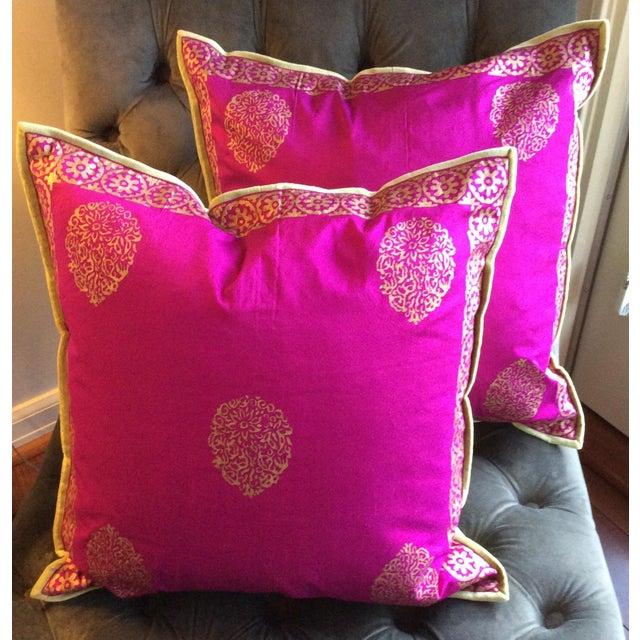 Silk Magenta & Gold Block Print Pillows - A Pair - Image 2 of 5
