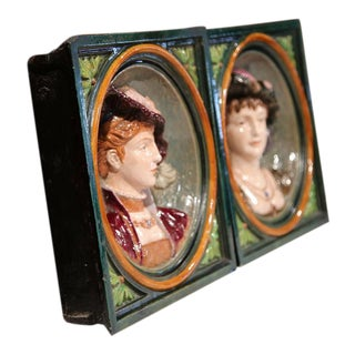 French Hand-Painted Barbotines Plaques - A Pair