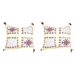 Handmade Moroccan Red & White Wedding Pillow- A Pair