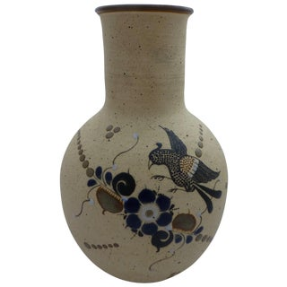 Vintage Bird & Floral Motif Mexican Pottery Vase