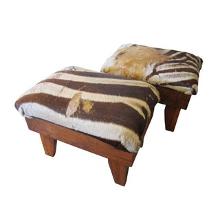 Authentic Zebra Hide Stools - A Pair