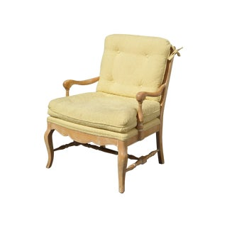French Country Tufted Yellow Carved Accent Chair