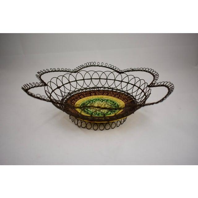 German Majolica & Looped Wire Basket - Image 3 of 11