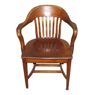 Slatted Back Solid Wood Arm Chair