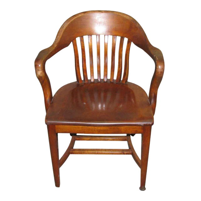 Slatted back solid wood arm chair chairish