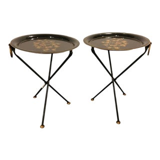 Diminutive Paint Decorated Tole Folding Tables - A Pair