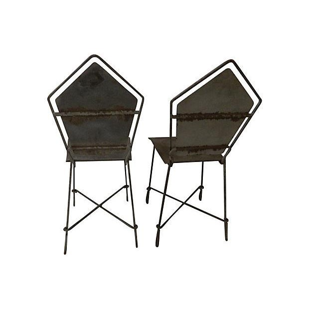 French Art Deco Iron Garden Chairs - Set of 6 - Image 4 of 6