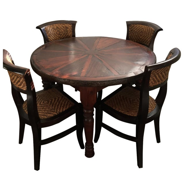 Vintage Style Wooden Dining Set - Image 1 of 7