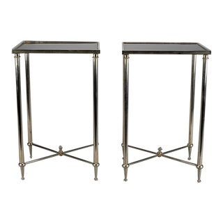 Pair Metal Tables with X-Form Stretchers and Black Glass Tops