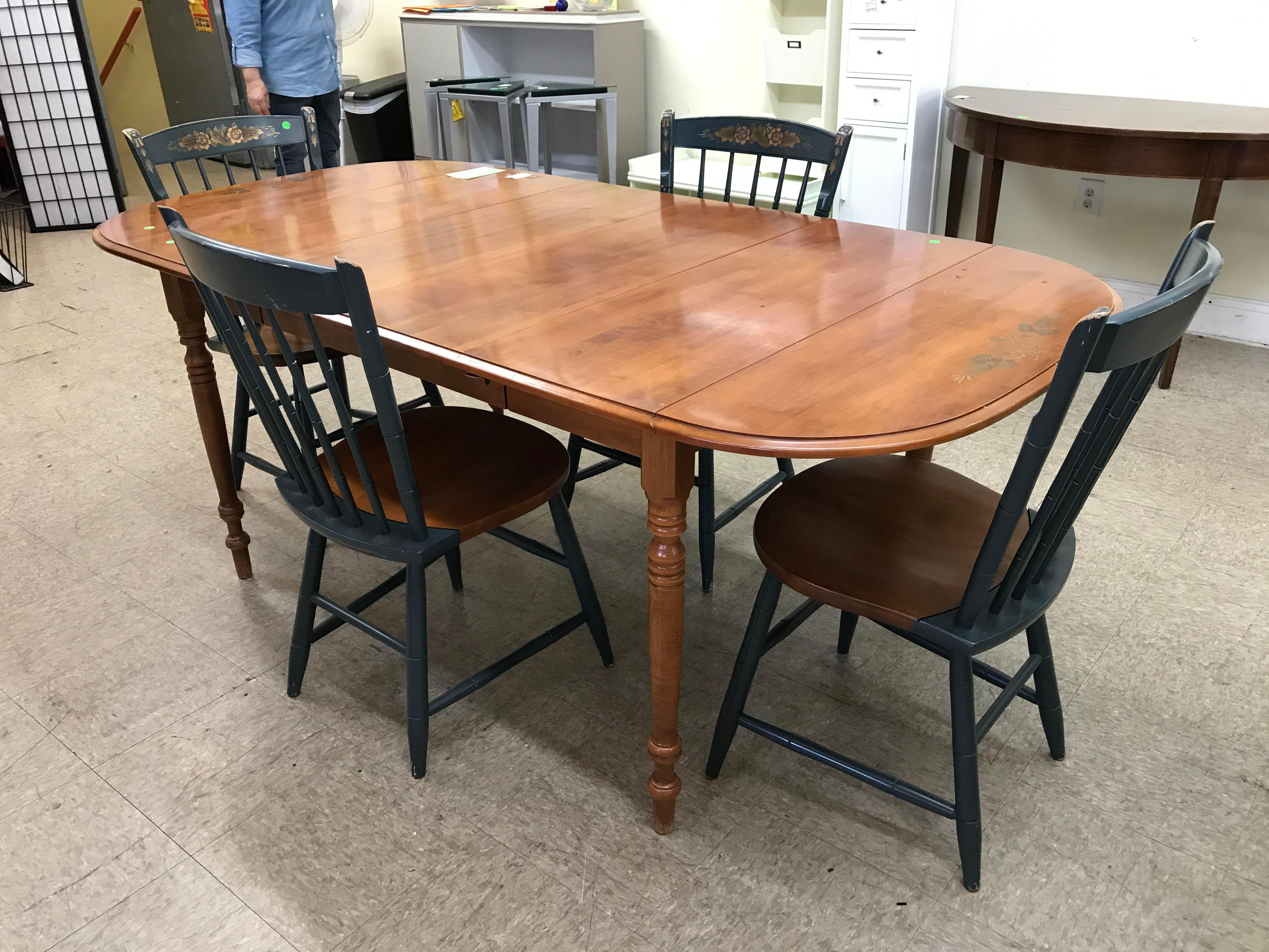 hitchcock drop leaf table & chairs   chairish