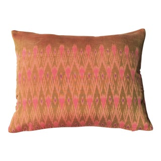 Vintage Ikat Handwoven Silk Thai Pink & Brown Pillow