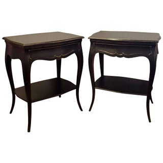 Single Drawer Ebonized End Tables - A Pair