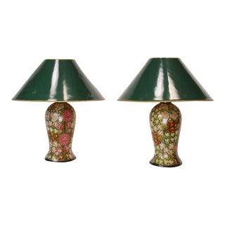 19th Century English Papier Mache Lamps - A Pair