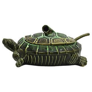 Majolica Turtle Soup Tureen & Ladle