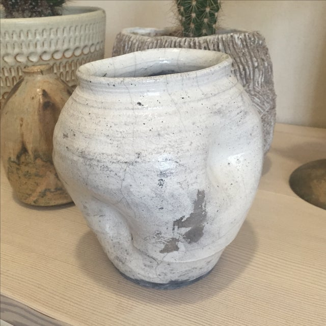 Image of Vintage White Raku Pot Planter