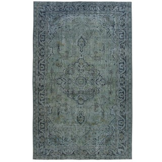 Blue-Grey Reclaimed Overdye Carpet | 5'8 x 9'2 Rug