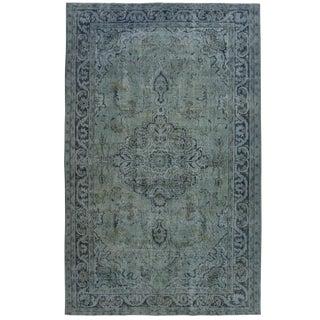 Blue-Grey Reclaimed Overdye Carpet | 5'8 x 9'2 Rug