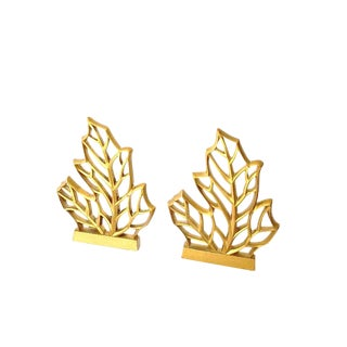 Mid-Century Stylized Leaves Bookends - A Pair