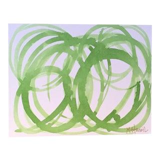 Green Circles on Canvas Original Composition
