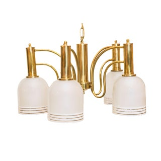 Five Light Brass & White Porcelain Chandelier
