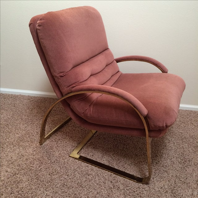 Image of Milo Baughman Style Brass and Rose Velvet Chair