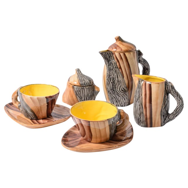 """French Vallauris Faux Bois """"Tete a Tete"""" Coffee Set - Image 1 of 10"""