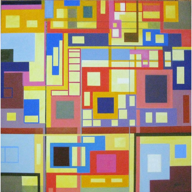 """Homage to the Squares"" Original Oil Painting - Image 1 of 4"