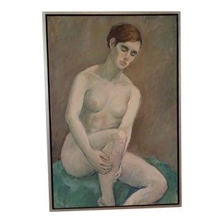 Modernist Nude 25 x 37 Original Oil Painting Signed on Belgian Linen White Gold-Leaf Floating Frame