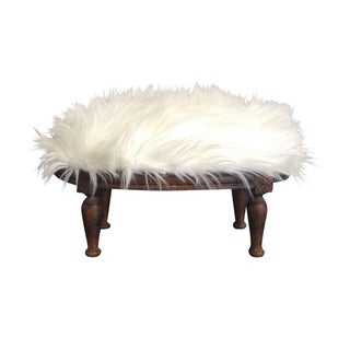 Faux Sheepskin Footstool