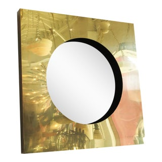 Polished Brass Square Port Hole Mirror by Curtis Jere