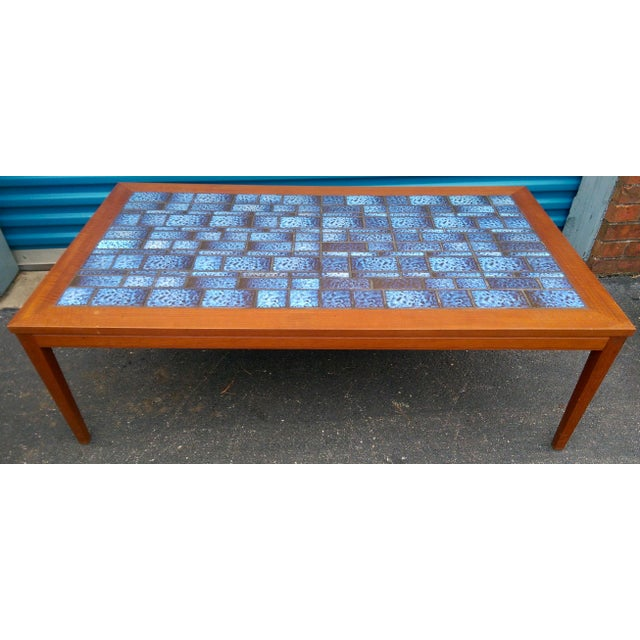 Blue Tiled Coffee Table - Image 4 of 7