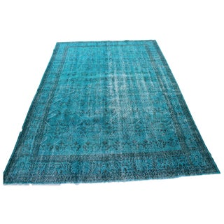 """Vintage Turquoise Over-Dyed Rug - 6'9"""" x 9'9"""""""