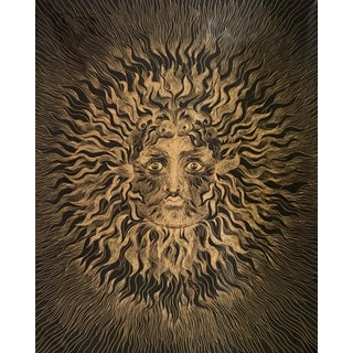 Sascha Brastoff Modernist Gold Foil Sunburst Print