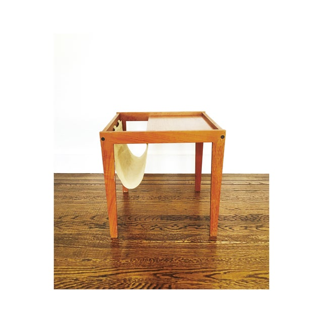 Image of Mid Century Side Table With Magazine Rack